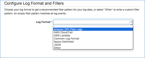 Image of selecting Amazon VPC Flow Logs from drop-down list