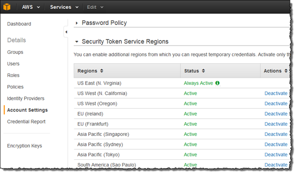 Image of the Account Settings page in the IAM console