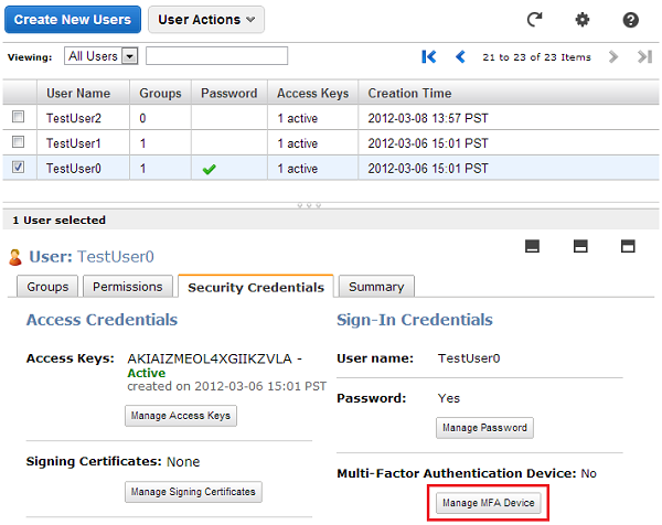 Screenshot of Manage MFA Device on the Users tab