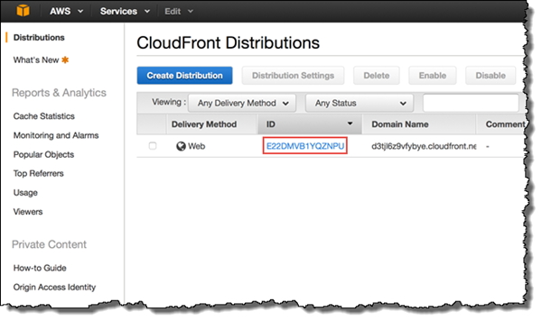 Screenshot showing the CloudFront distribution's ID