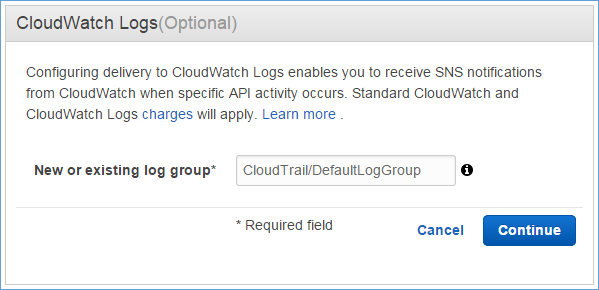 Image of naming the CloudWatch Logs log group