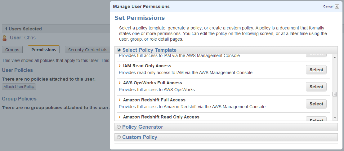Screenshot showing Chris having AWS OpsWorks Full Access policy template applied to him