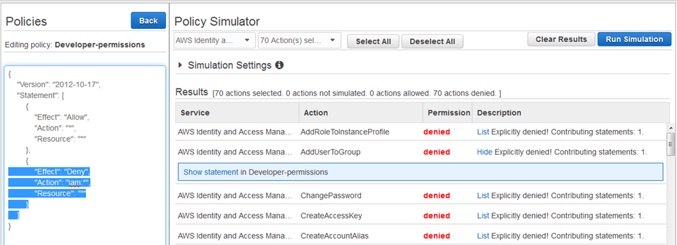 "Screenshot showing the group policy ""Developer-permissions"" enforcing a deny on IAM actions"