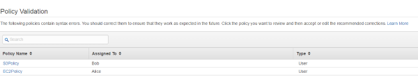 Screenshot of Policy Validation page