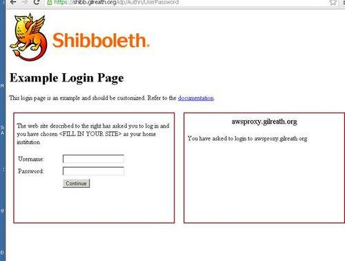 Screenshot of Shibboleth login page