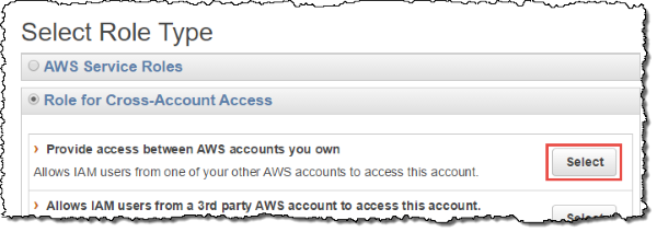 "Screenshot of selecting ""Provide access between AWS accounts you own"""