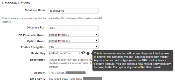 Screenshot of the RDS encryption configuration in AWS Management Console