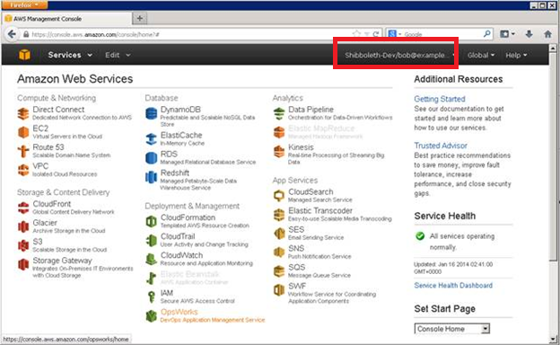 Screenshot showing being signed in to the AWS Management Console as Bob