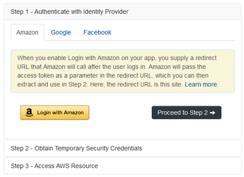Screenshot of three identity providers to choose from