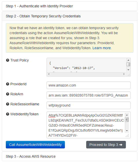 Screenshot of obtaining temporary security credentials
