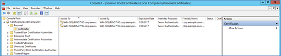 Screenshot of the MMC Console with certificates