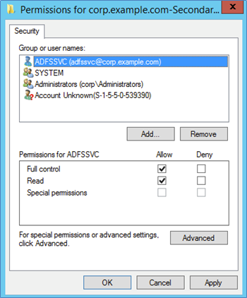 Screenshot showing how to allow Full Control