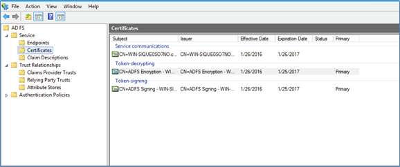Image of Certificates folder in the AD FS console