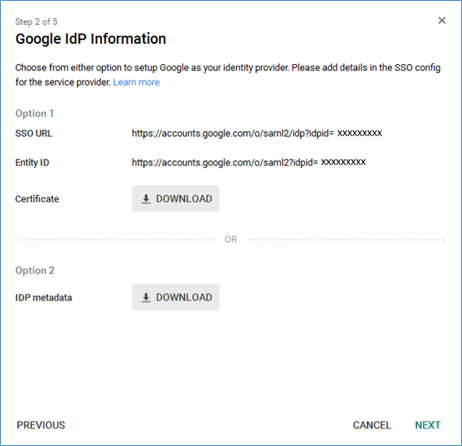 Screenshot of setting up Google as the IdP