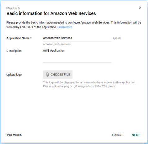 Screenshot of editing basic information for AWS