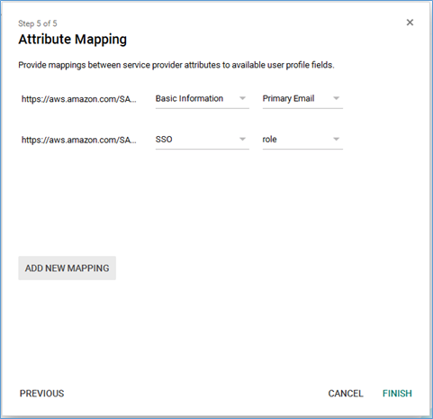 Screenshot of providing attribute mapping
