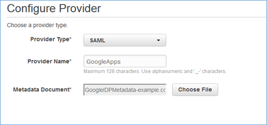 Image of selecting SAML from the Provider Type drop-down list