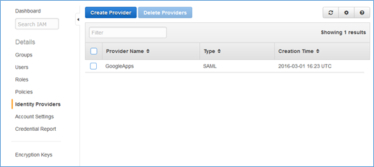 Screenshot showing the newly created IdP