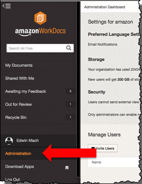 Image of the WorkDocs Administration option