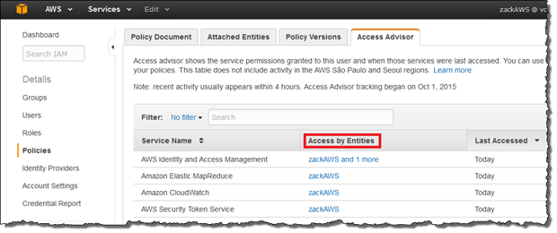 "Screenshot of the IAM console with the ""Access by Entities"" column highlighted"