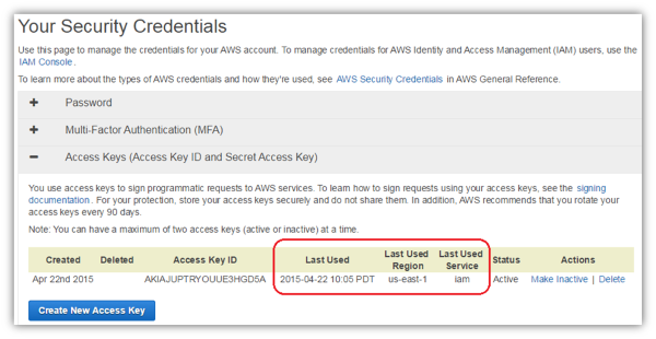 Image of root access key last used details