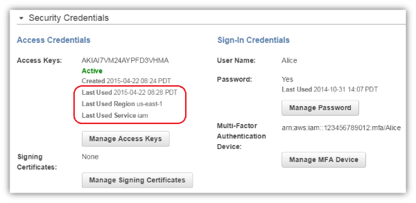 Image of access key last used details