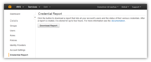 Image of button to download an IAM credential report