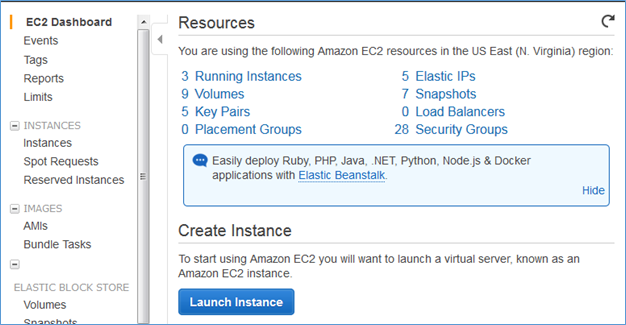 Image of the now accessible EC2 Dashboard