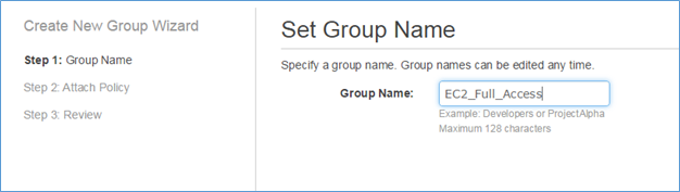 Image of naming the group EC2_Full_Access