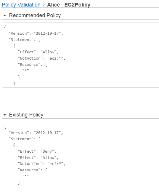Screenshot of updating EC2Policy policy