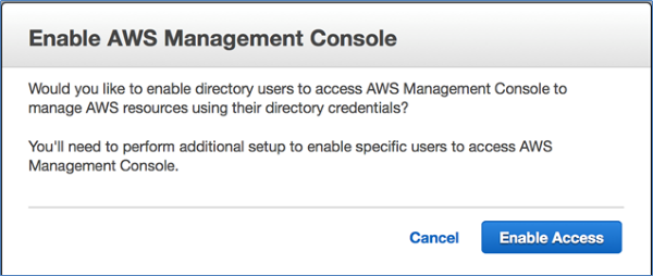 Image of Enable AWS Management Console access dialog box