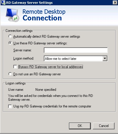 Figure 5 - Remote Desktop Connection