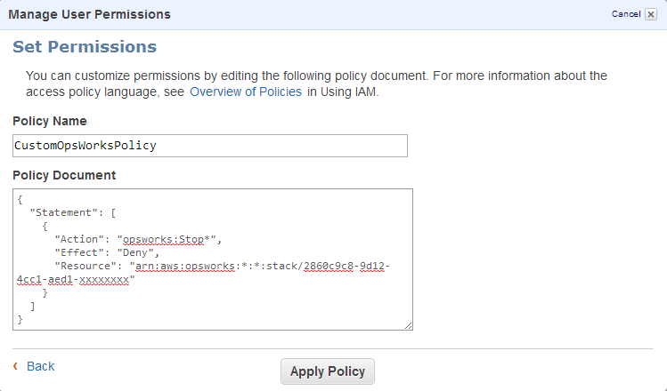Screenshot of adding CustomOpsWorkPolicy