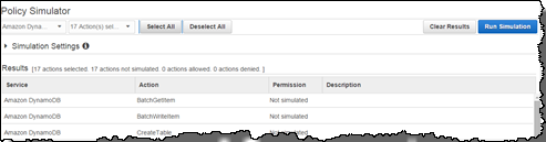 Image of simulating all DynamoDB actions for your role
