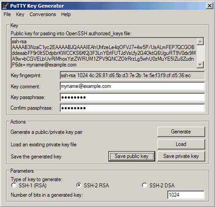 Screenshot of how the PuTTYgen output will appear