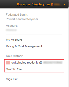 Image of the Switch Role drop-down menu